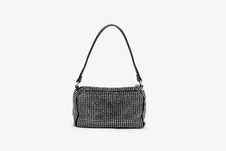 9423 Black Diamante Embellished Long Handle Handbag