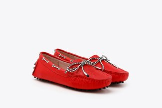 A8-1901 Red Bow Leather Loafers