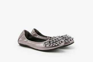 1299-10 Pewter Pearl Embellished Leather Flats