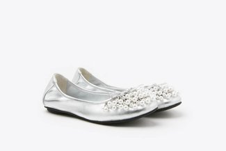 1299-10 Silver Pearl Embellished Leather Flats