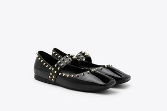 1319-1 Black Glossy Patent Gold Studded Square Toe Mary Jane Flats