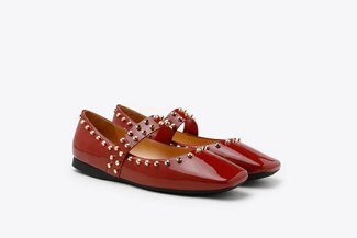 1319-1 Brick Red Glossy Patent Gold Studded Square Toe Mary Jane Flats