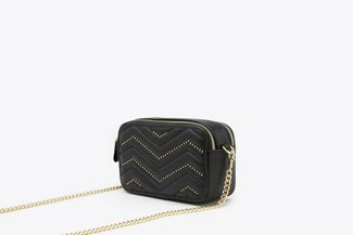 135A Black Studded Chevron Double Zipper Boxy Leather Crossbody Bag