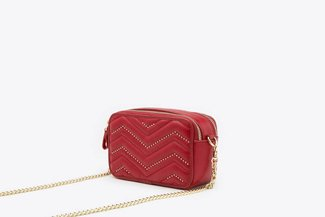 135A Wine Studded Chevron Double Zipper Boxy Leather Crossbody Bag