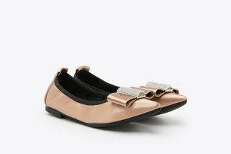 3660-30 Champagne Diamante Embellished Bow Pointed Leather Flats