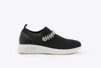 72-5 Black Rhinestones Crystal Embellished Knit Slip-On Sneakers