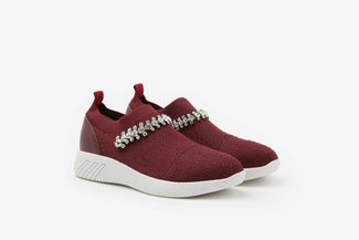 72-5 Wine Rhinestones Crystal Embellished Knit Slip-On Sneakers