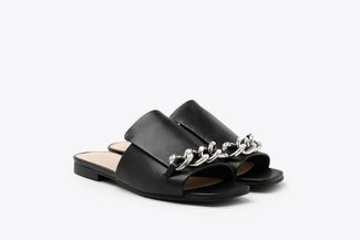 A35-1 Black Crystal Chained Strap Leather Square Toe Slides