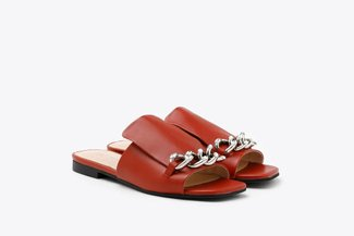 A35-1 Brick Red Crystal Chained Strap Leather Square Toe Slides