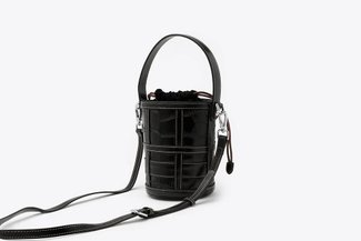 B083 Black Croc-Effect Caged Leather Bucket Bag