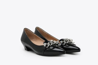 0533-1 Black Glossy Bejewelled Chain Embellished Patent Loafer Low Heels