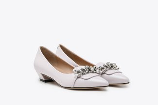 0533-1 Light Purple Glossy Bejewelled Chain Embellished Patent Loafer Low Heels