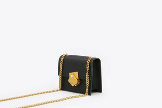 190515 Black Geometric Pearl Mini Boxy Shoulder Leather Bag