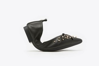 6138-1 Black Gold Studded Bow Leather Foldable Pointy Flats