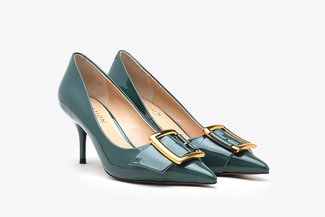 LT183-10 Green Glossy Classic Gold Buckled Pointy Toe Patent High Heels