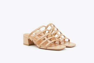 YD734-2 Almond Caged Leather Sandals
