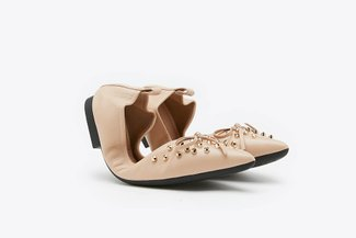 6138-1 Almond Gold Studded Bow Leather Foldable Pointy Flats