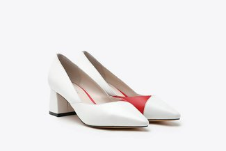 188A-8 White Two-Tone Leather Block Heels