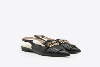 602-6 Black Gold Chain Fringed Pointy Toe Slingback Leather Flats