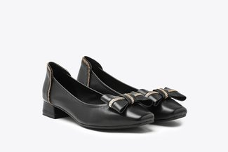 823-13 Black Zipper Bow Square Toe Leather Low Heels