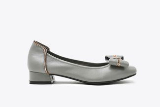 823-13 Grey Zipper Bow Square Toe Leather Low Heels
