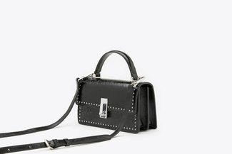 87186-1 Black Metallic Mod Top-Handle Mini Leather Shoulder Bag