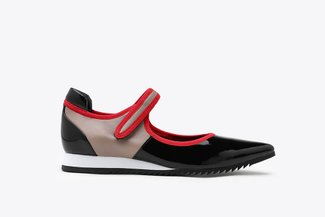 9861-1 Black Athleisure Pointed Toe Strap Mary Jane Flats