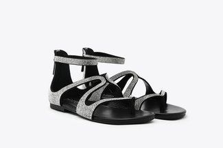 1368-1 Black Diamante Strappy Leather Zipback Sandals