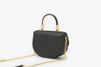 181202 Black Compact Saddle Leather Shoulder bag