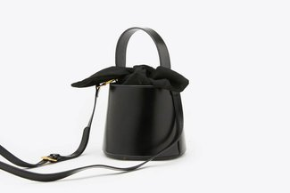 181208 Black Top Handle Leather Bucket Bag