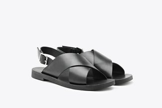 1857-201 Black Criss-Cross Strap Leather Sandals