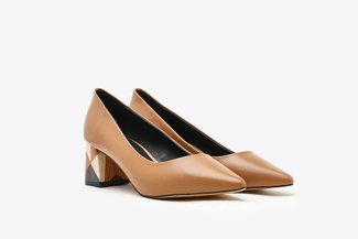 188A-9 Camel  Pointy-Toe Leather Wood Effect Block Heels
