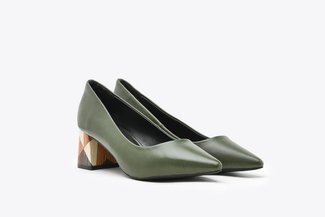 188A-9 Dark Green Pointy-Toe Leather Wood Effect Block Heels