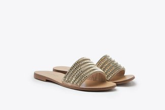 2639-62 Gold Diamante Embellished Slides