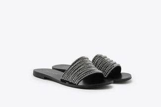2639-62 Pewter Diamante Embellished Slides