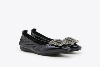 3790-1 Blue  Oversized Crystal Buckle Patent Leather Flats