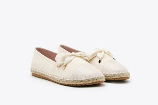 619-1 Apricot Lace Slip-on Canvas Leather Espadrilles