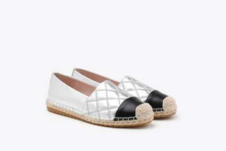 619-2 Silver Metallic Quilted Leather Espadrilles