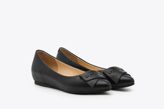 6612-5 Black Leather Ballet Flats