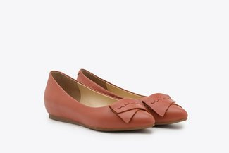 6612-5 Orange Leather Ballet Flats