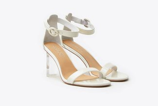 716-2019 White Ankle Strap Patent Sandal Heels