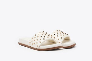 7616-1 Beige Gold Studs Embellished Leather Slides