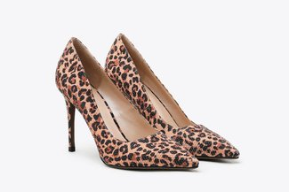 8759-5 Brown Crystal Embellished Leopard Print Leather Pointy Toe High Heels