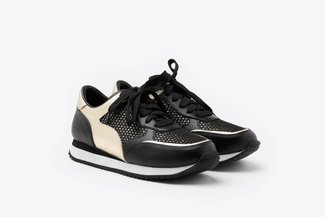 8868-1 Black Athleisure Metallic Mesh Leather Sneakers