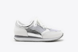 8868-1 White Athleisure Metallic Mesh Leather Sneakers