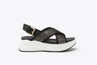 969-1 Gold Athleisure Metallic Mesh  Chunky Flatform Sandals