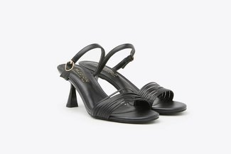 LT208-1 Black Multi Strappy Mid-Heel Leather Sandals