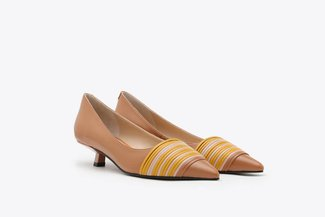 LT233-32 Brown Tri-Coloured Leather Kitten Heel Pumps