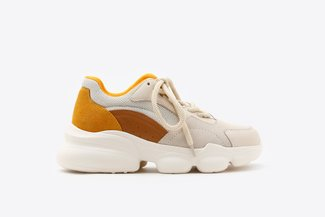 019-8185 Yellow Chunky Leather Mesh Sneakers