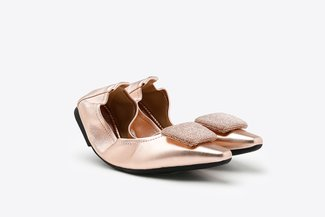 608-1A Champagne Diamante Square Ornament Pointy Leather Foldable Flats